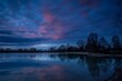 canvas print picture - sunset over the river
