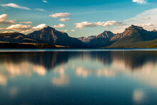 Dramatic, Peaceful And  Serene Summer  Sunset Photo Of Lake McDonald In Glacier National Park In. Montana.
