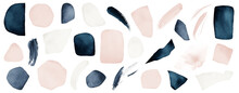 Abstract Isolated Elements. Blue, Navy, Blush, Pink, White Watercolor Illustration, On White Background. Abstract Modern Print Set. Logo. Wall Art. Poster. Business Card.