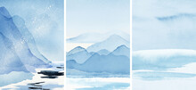 Abstract Arrangements. Landscapes, Mountains, Scenery, View. Posters. Blue, Navy, Ivory, Beige Watercolor Illustration And Gold Elements. Modern Print Set. Wall Art. Business Card. Printable.