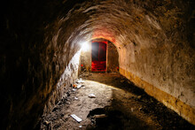 Tunnel With Concrete Walls In Old Abandoned Soviet Bunker
