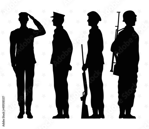 Fotografiet four soldiers silhouettes isolated icons