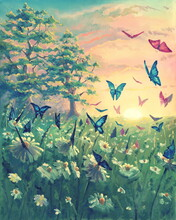 Oil Painting Sunset Landscape On Canvas With Butterflies, Beautiful Flowers, Meadow With Green Grass, Floral Artwork With Magical Chamomile Garden. Hand Drawn Nature Illustration.