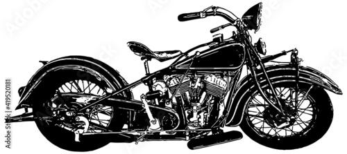 Fényképezés Vintage american motorcycle vector illustration profile in black on white backgr