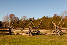 Historic Wooden Picket Fences (Period Fence) Located At Manassas National Battlefield Park. These Defensive Structures Were Used Against Cavalry Charge During The Battle Of Bull Run In US Civil War.