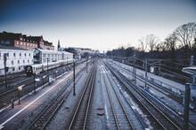 Winter Train Station With Sunset In Copenhagen.