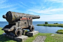 View From The Wall Kalmar Castle, Sweden. Ancient Cannon Aimed To The Sea.