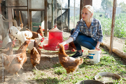 Canvas Print Smiling girl farmer feeding chicken from bucket with seed at farm