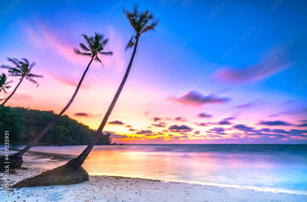 Fototapeta Dawn on a deserted beach with beautiful leaning coconut trees facing the sea and a beautiful dramatic sky emerald Phu Quoc island, Vietnam