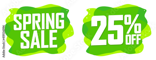 Obraz Spring Sale, 25% off, banners design template, discount tags, vector illustration - fototapety do salonu