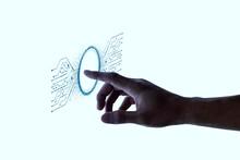 Biometrics Fingerprint Scan On Interactive Screen