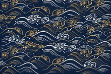 Blue Wave Pattern Background, Featuring Public Domain Artworks