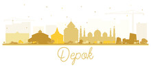 Depok Indonesia City Skyline Silhouette With Golden Buildings Isolated On White.