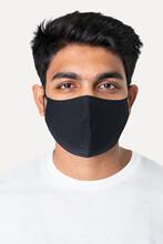 Indian Man In Black Mask New Normal Fashion Studio Portrait