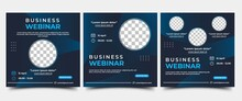 Set Of Webinar Social Media Post Template. Modern Banner With Abstract Gradient Blue Background. Vector Design With Place For The Photo. Suitable For Social Media Post, Banners, And Web Internet Ads.