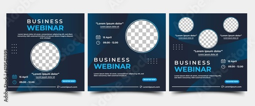 Obraz Set of Webinar Social Media post template. Modern banner with abstract gradient blue background. Vector design with place for the photo. Suitable for social media post, banners, and web internet ads. - fototapety do salonu
