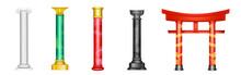 Antique Pillars, Ancient Columns With Golden Decor