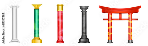 Canvas-taulu Antique pillars, ancient columns with golden decor