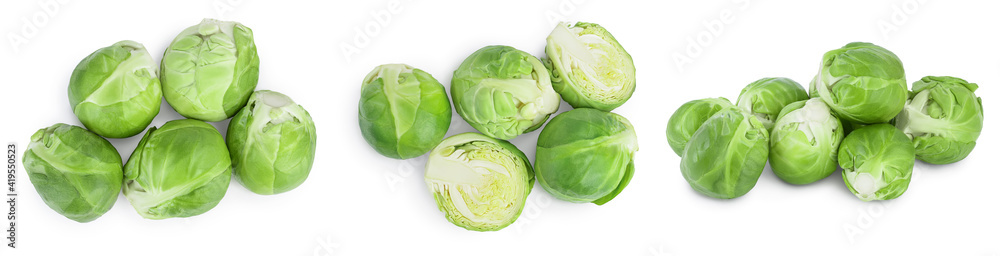 Fototapeta Brussels sprouts and half isolated on white background with clipping path and full depth of field. Set or collection