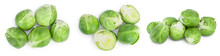 Brussels Sprouts And Half Isolated On White Background With Clipping Path And Full Depth Of Field. Set Or Collection