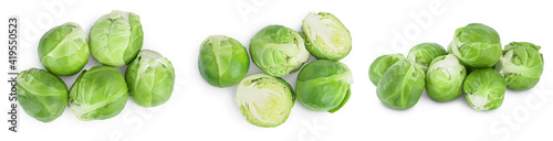 Foto Brussels sprouts and half isolated on white background with clipping path and full depth of field