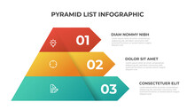 Pyramid Infographic Template Vector With 3 List, Layers, Options, Steps. Layout Element For Presentation, Report, Banner, Etc.