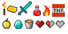 Set Of Vector Pixel Objects. Potion Bottles, Fire Flame, Sword, Torch, Emerald And Heart. Objects For A Pixel Game. The Concept Of Games Background. Minecraft Concept. Vector Illustration