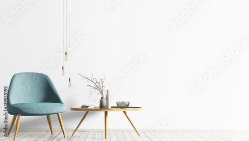 Interior design of living room with turquoise armchair and wooden coffee table. White wall with copy space. Modern scandinavian home design. 3d rendering