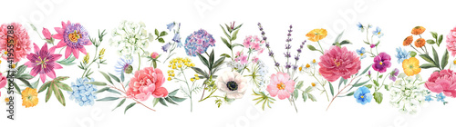 Obraz Beautiful horizontal seamless floral pattern with watercolor hand drawn gentle summer flowers. Stock illustration. Natural artwork. - fototapety do salonu