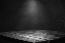 Dark Background Wall With Empty Table, For Montage Of Your Product
