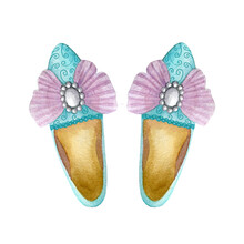 Turquoise Baroque Shoes With Pink Pompous Bow And Pearl Brooch. Watercolor Illustration Isolated On A White Background