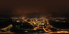 Yaroslavl, Russia. Historical City Center. Volga River Embankment Panoramic Aerial View At Night. Panorama 360