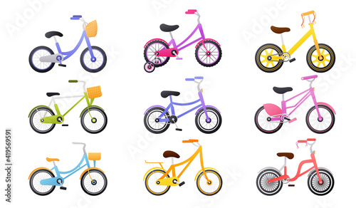Obraz Set of colourful kids bicycle, healthy lifestyle objects, children bikes, transport for travel, toys for child in cartoon style on white background - fototapety do salonu
