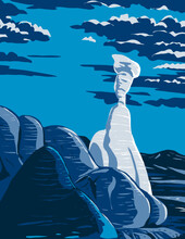 WPA Poster Art Of Toadstools In The Grand Staircase-Escalante National Monument In Utah, United States At Night Done In Works Project Administration Style Or Federal Art Project Style.