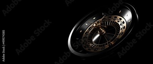 Canvas Print Modern Black And Golden Roulette Wheel