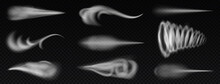 Realistic Wind Trails. Dust Spray And Smoky Stream And Wind Blowing Trails, Smoky Stream. Flow Curved Shapes Vector Illustration Set. Air Fog Or Blast Isolated Collection, Flying Smoke