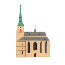 St. Bartholomew's Cathedral In Pilsen. Old Czech Cathedral With Tower. Ancient Church In Plzen. Colored Flat Vector Illustration Of European Historical Landmark Isolated On White Background