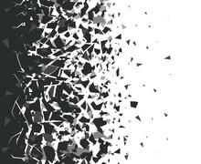 Abstract Shatter Background. Exploded Black Pieces Scatter, Shattered Triangles Destruction Pattern. Broken Particles Vector Background Illustration Set. Black Destroyed Fragments Design