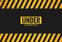 Under Construction Background With Black And Yellow Stripes