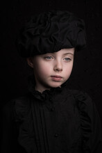 Classic Renaissance Portrait Of A Child In Black With A Hat In Painterly Rembrandt Style