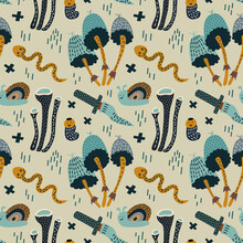 Vector Illustration Image Of A Magic Mushroom Dagger Snail And Snake. Seamless Pattern On A Pistachio Background. For Printing On Fabric Or Paper, For Interior Decoration.