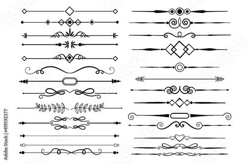 Obraz Calligraphic ornamental element set, calligraphic elements and page decoration - fototapety do salonu