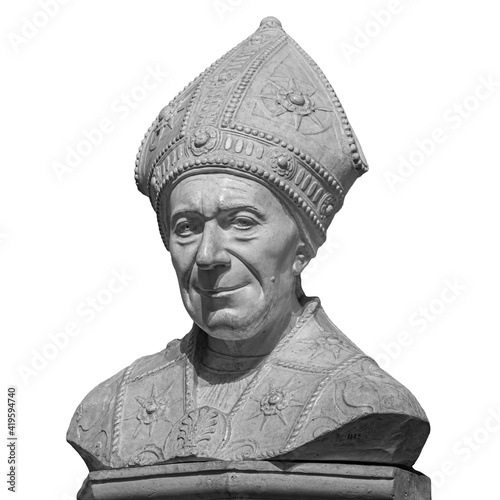 Marble statue of bishop SLeonardo Salutati isolated on white background, was a R Fototapet