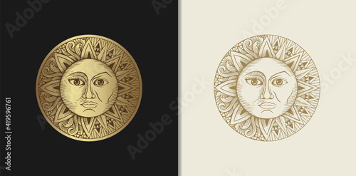 Carta da parati Sun and moon which has two faces with engraving, luxury style for tarot reader,