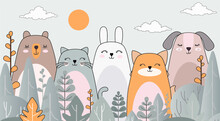 Drawing With Animals. Wallpaper For The Children's Room. Photo Wallpapers. Children's Greeting Card. Fabulous Forest.