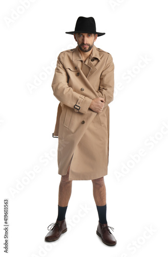 Tablou Canvas Exhibitionist in coat and hat isolated on white