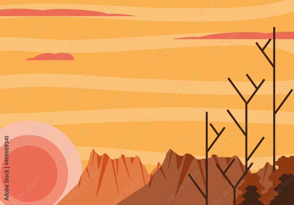 Fototapeta landscape dry trees