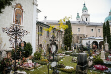 Saint Peter's Abbey, Adjacent Cemetery Petersfriedhof, Atmospheric Burial Grounds, Artfully Designed Wrought Iron Crosses And Solid, Centuries-old Gravestones, Salzburg, Austria