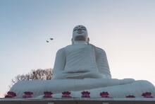 Giant White Buddha Statue At Sri Maha Bodhi Viharaya, A Buddhist Temple At Bahirawakanda At Sunset Or Sunrise In Kandy, Sri Lanka.