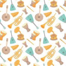 Seamless Pattern Of Musical Instruments. Drums, Guitars, A Flute, A Pan Flute, A Banjo, A Trumpet, A Gramophone. Vector.